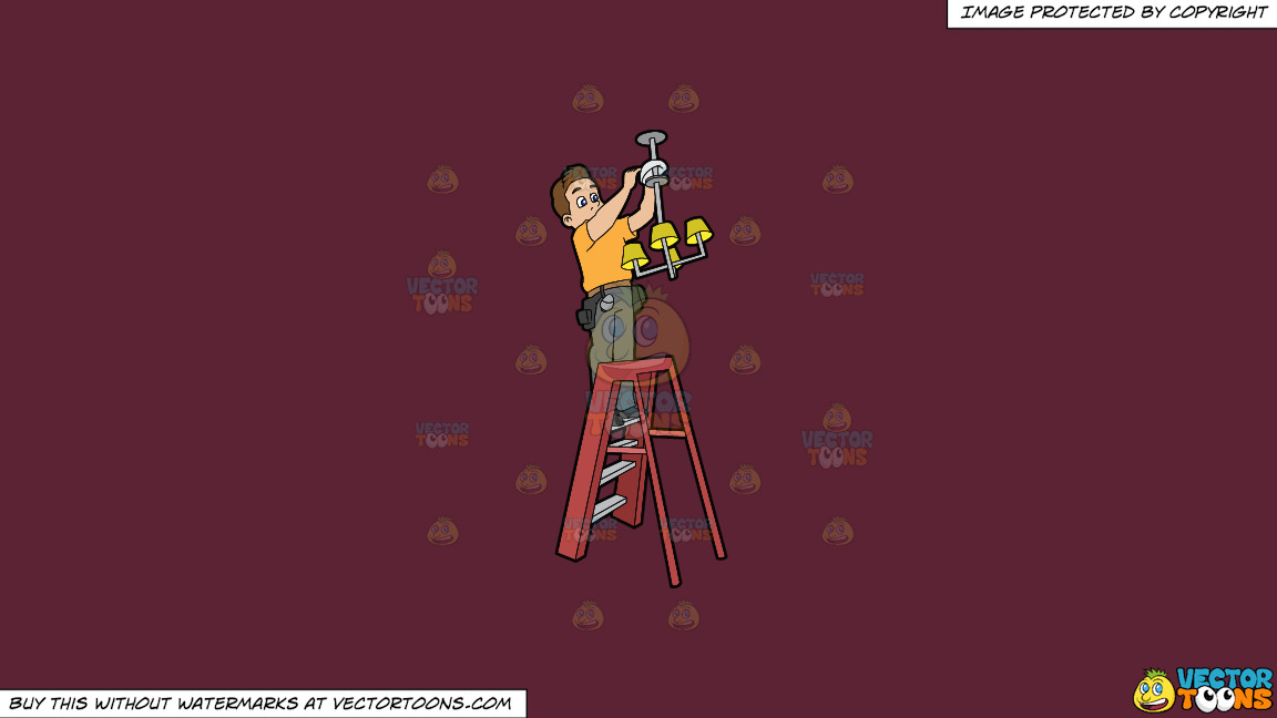 An Electrician Installing A Ceiling Light Fixture On A Solid Red Wine 5b2333 Background thumbnail