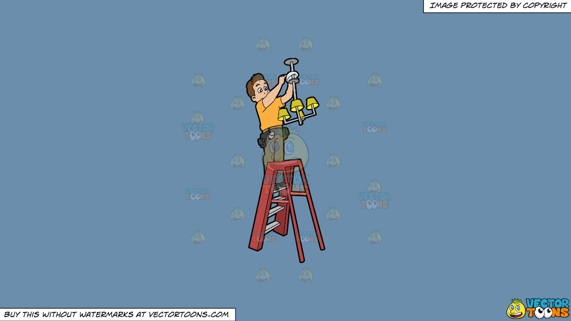 An Electrician Installing A Ceiling Light Fixture On A Solid Shadow Blue 6c8ead Background thumbnail