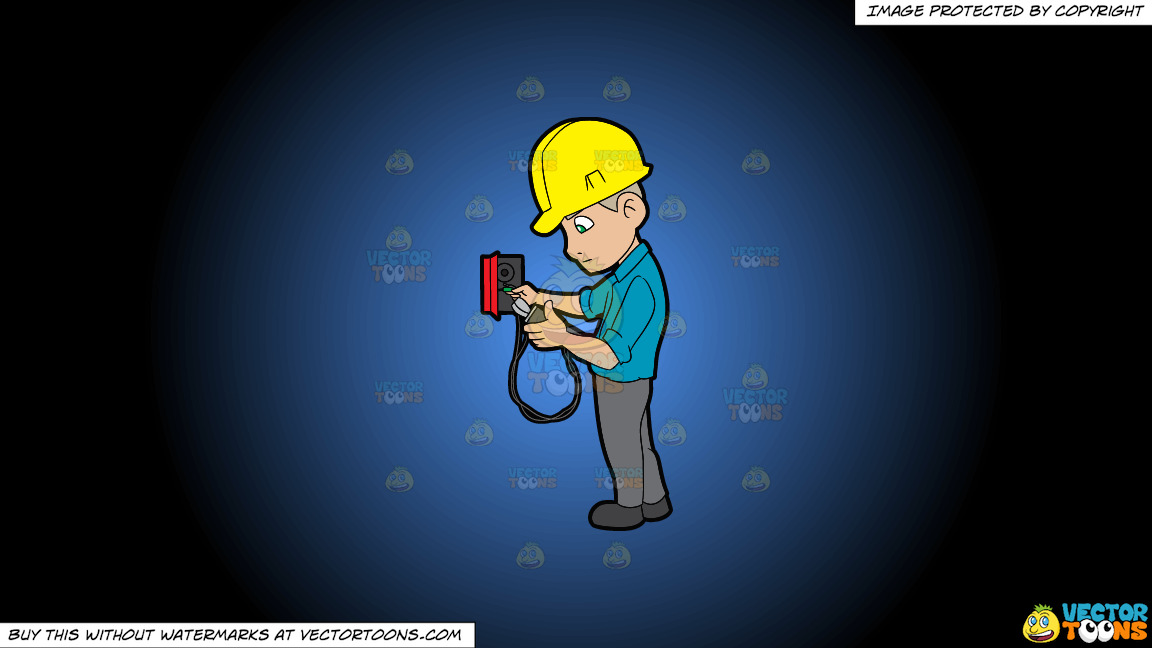An Electrician Reading The Voltage Reader On A Blue And Black Gradient Background thumbnail