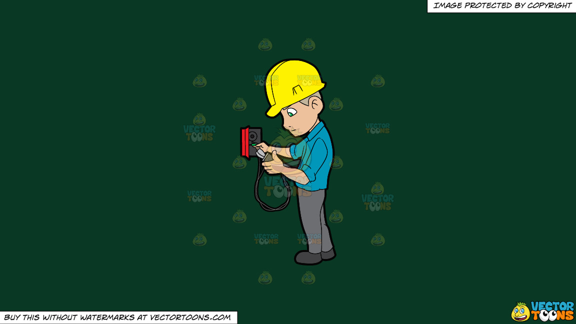 An Electrician Reading The Voltage Reader On A Solid Dark Green 093824 Background thumbnail