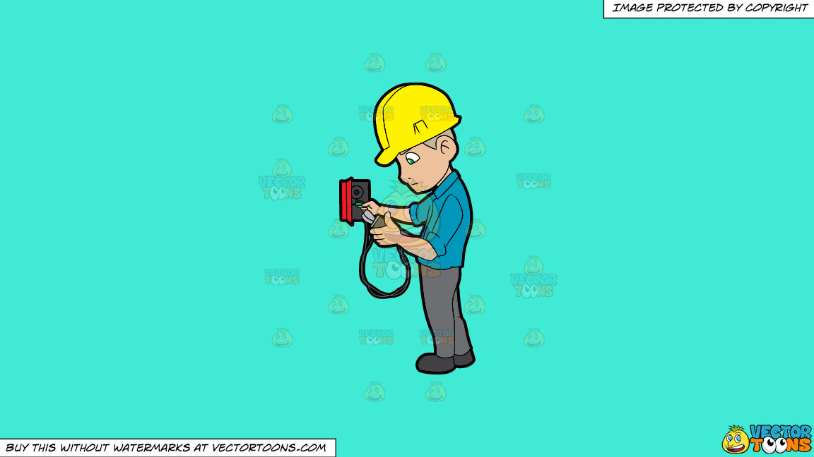 An Electrician Reading The Voltage Reader On A Solid Turquiose 41ead4 Background thumbnail