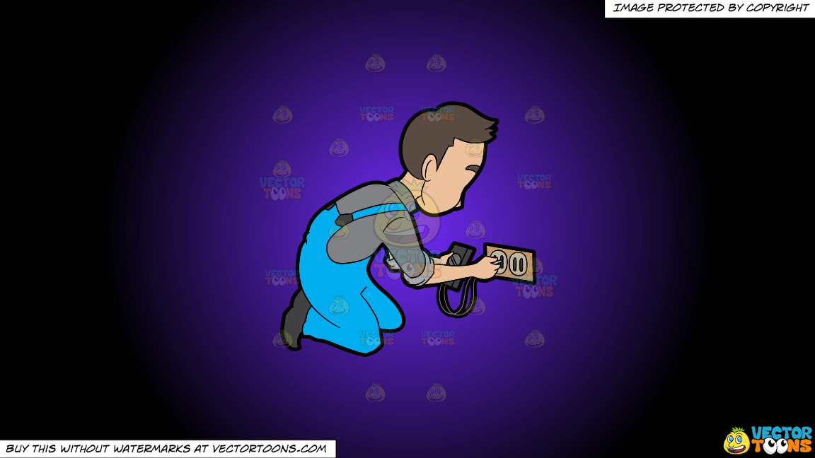 An Electrician Testing A Socket On A Purple And Black Gradient Background thumbnail