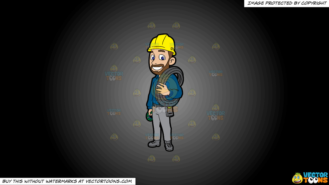 An Electrician With Spools Of Cable On A Grey And Black Gradient Background thumbnail