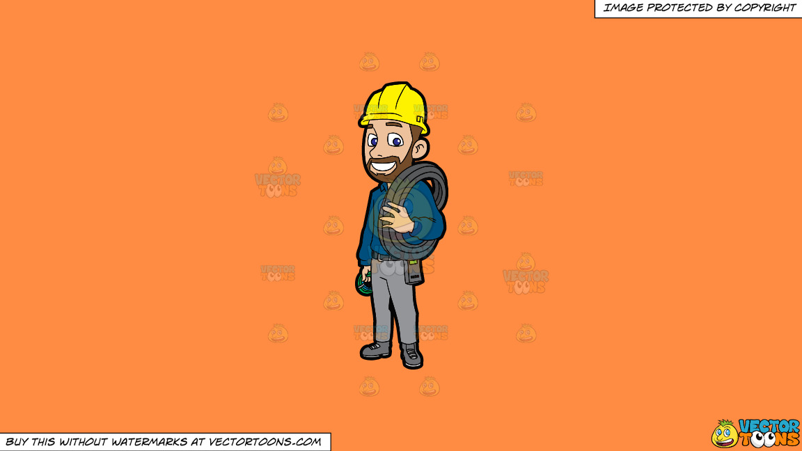An Electrician With Spools Of Cable On A Solid Mango Orange Ff8c42 Background thumbnail
