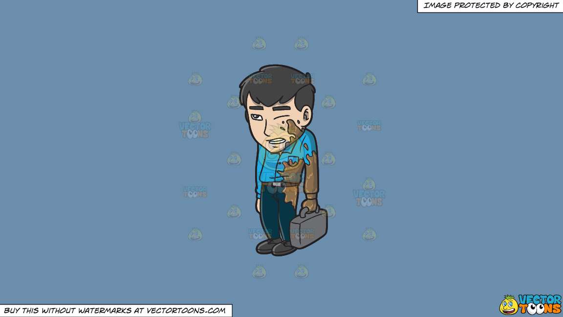 An Embarrassed Asian Man Being Splattered By Mud On The Street On A Solid Shadow Blue 6c8ead Background thumbnail