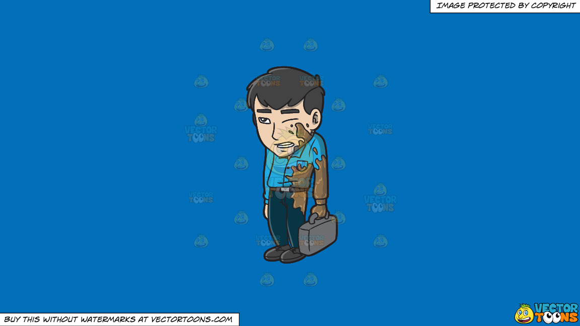 An Embarrassed Asian Man Being Splattered By Mud On The Street On A Solid Spanish Blue 016fb9 Background thumbnail