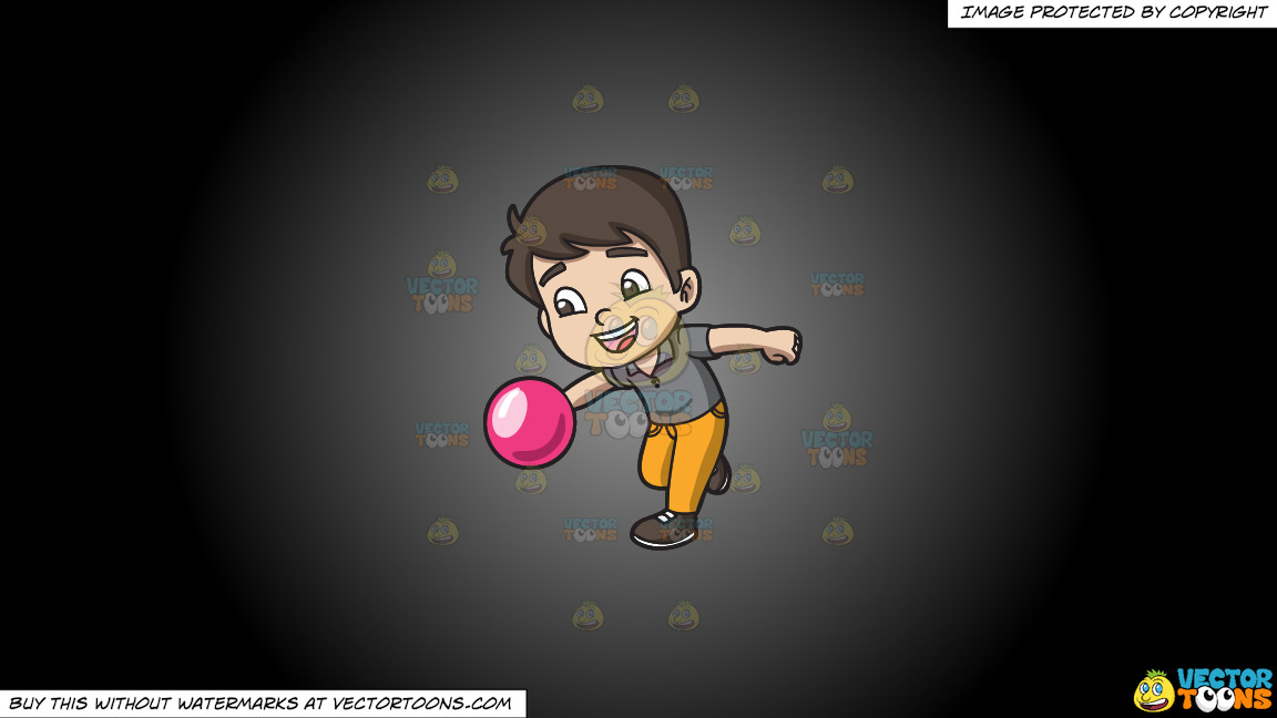 An Energetic Boy Enjoying The Game Of Bowling On A Grey And Black Gradient Background thumbnail