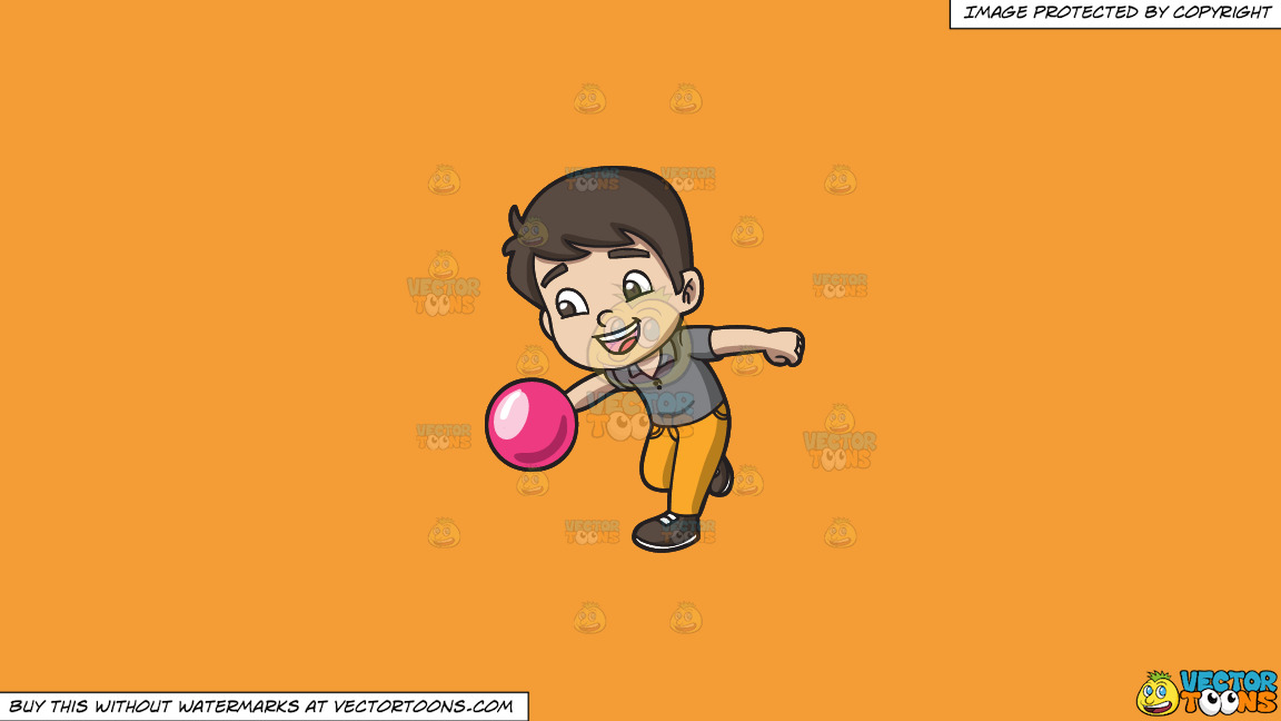 An Energetic Boy Enjoying The Game Of Bowling On A Solid Deep Saffron Gold F49d37 Background thumbnail