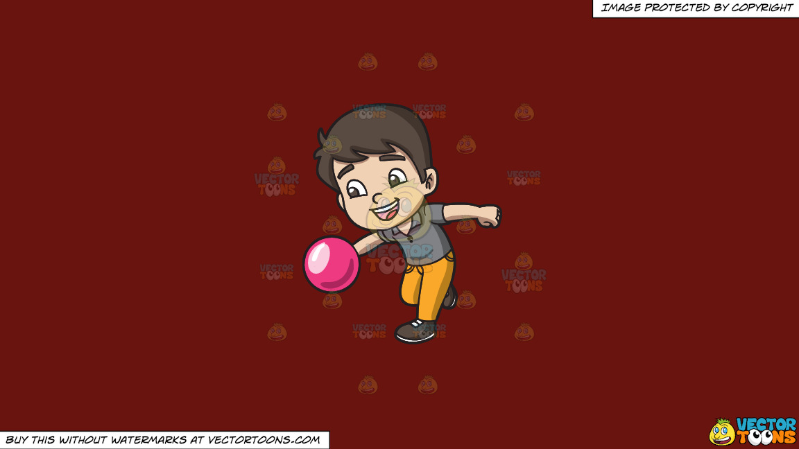 An Energetic Boy Enjoying The Game Of Bowling On A Solid Maroon 69140e Background thumbnail