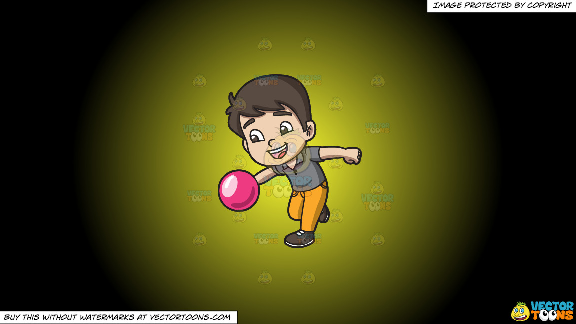 An Energetic Boy Enjoying The Game Of Bowling On A Yellow And Black Gradient Background thumbnail