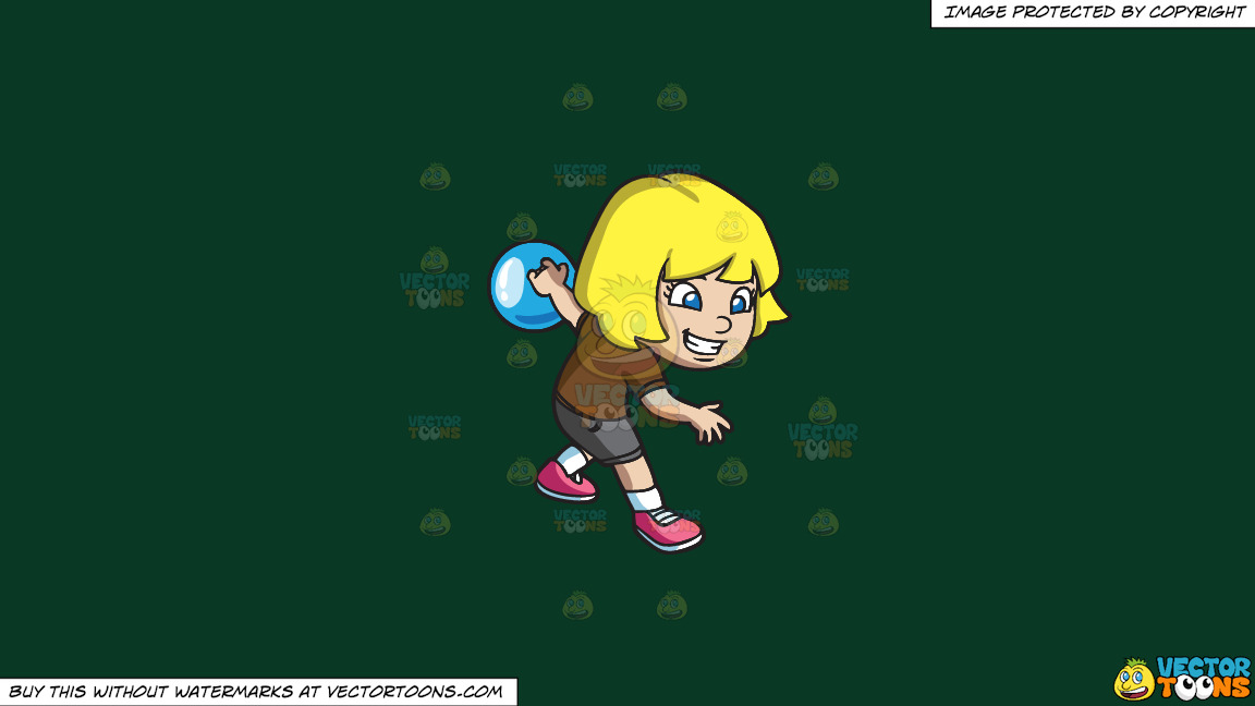 An Energetic Girl Enjoying The Game Of Bowling On A Solid Dark Green 093824 Background thumbnail
