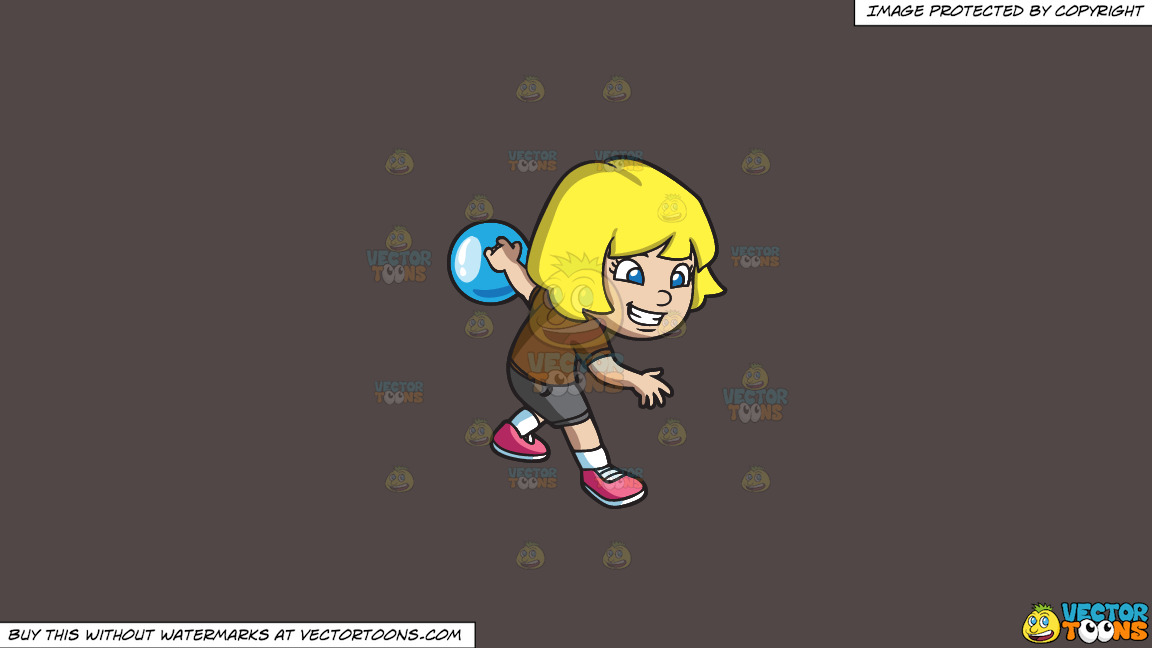 An Energetic Girl Enjoying The Game Of Bowling On A Solid Quartz 504746 Background thumbnail