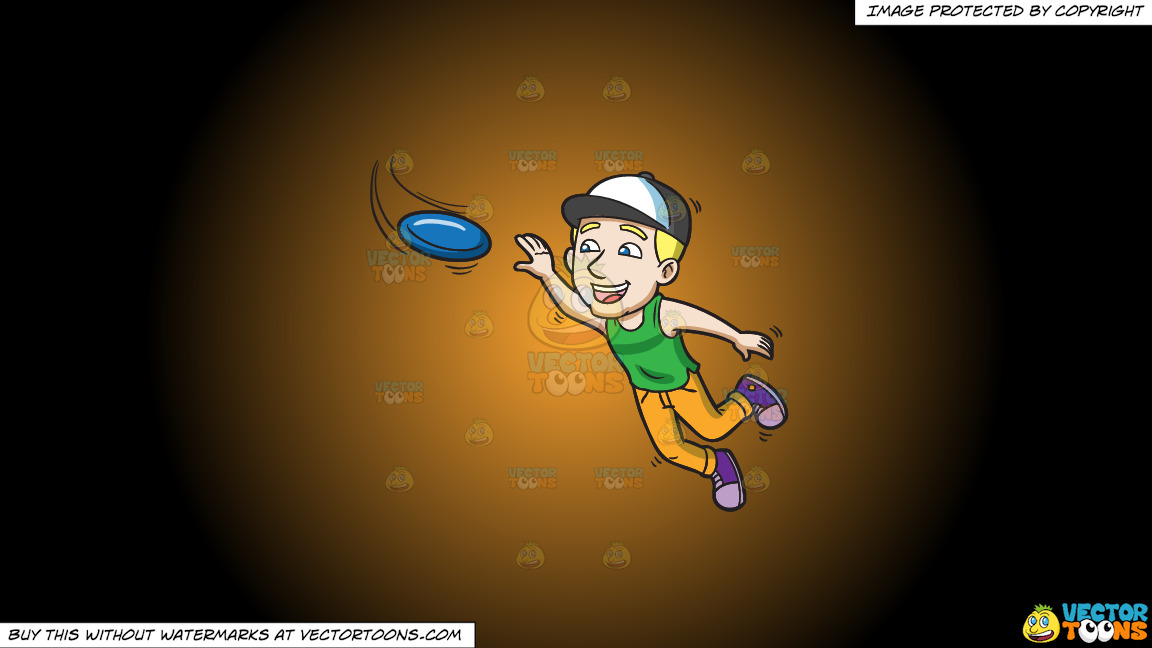 An Energetic Guy Jumps To Catch A Frisbee On A Orange And Black Gradient Background thumbnail