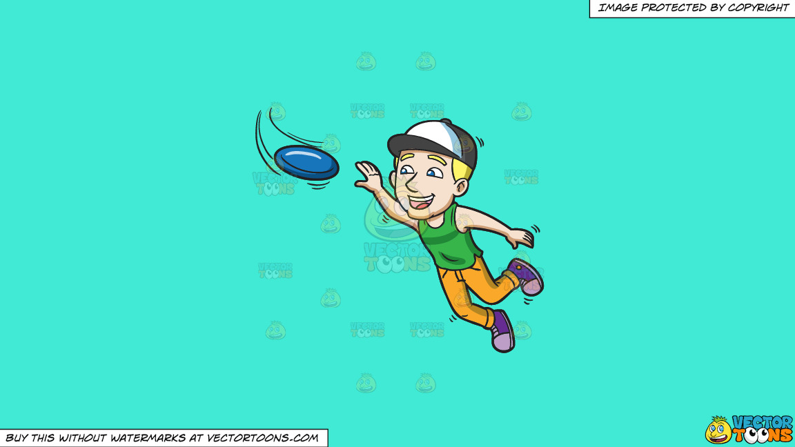 An Energetic Guy Jumps To Catch A Frisbee On A Solid Turquiose 41ead4 Background thumbnail