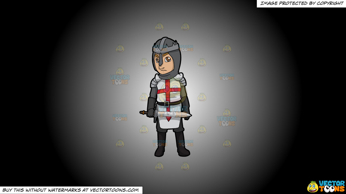 An English Knight On A White And Black Gradient Background thumbnail