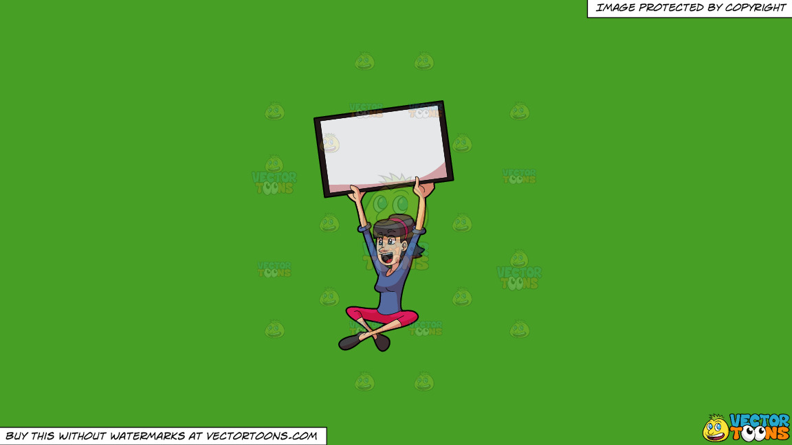 An Excited Girl Holds Up A Signboard On A Solid Kelly Green 47a025 Background thumbnail
