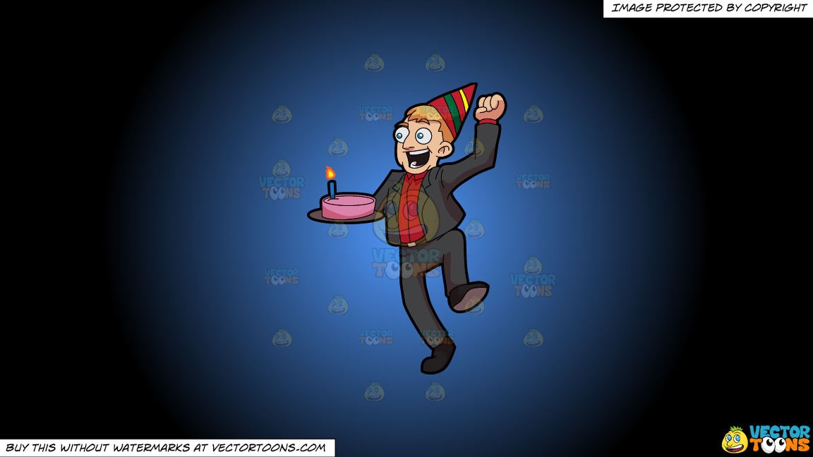 An Excited Man Carrying A Birthday Cake On A Blue And Black Gradient Background thumbnail