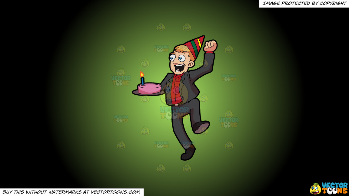 An Excited Man Carrying A Birthday Cake On A Green And Black Gradient Background thumbnail