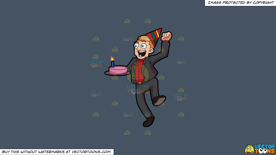 An Excited Man Carrying A Birthday Cake On A Solid Metal Grey 465362 Background thumbnail