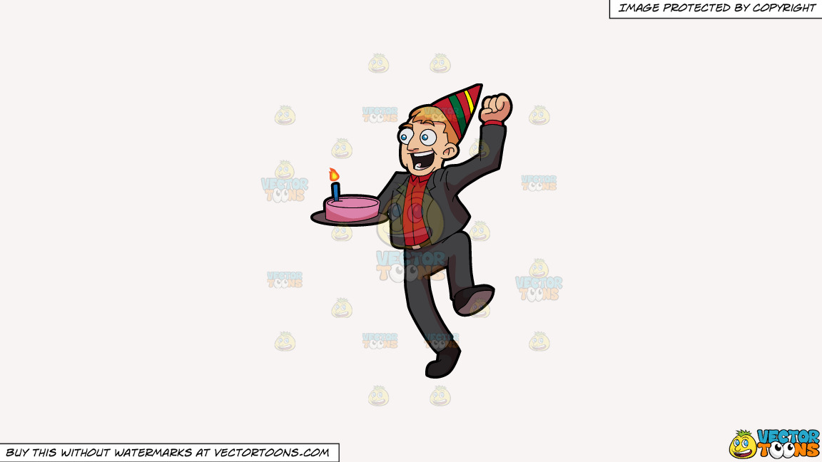 An Excited Man Carrying A Birthday Cake On A Solid White Smoke F7f4f3 Background thumbnail