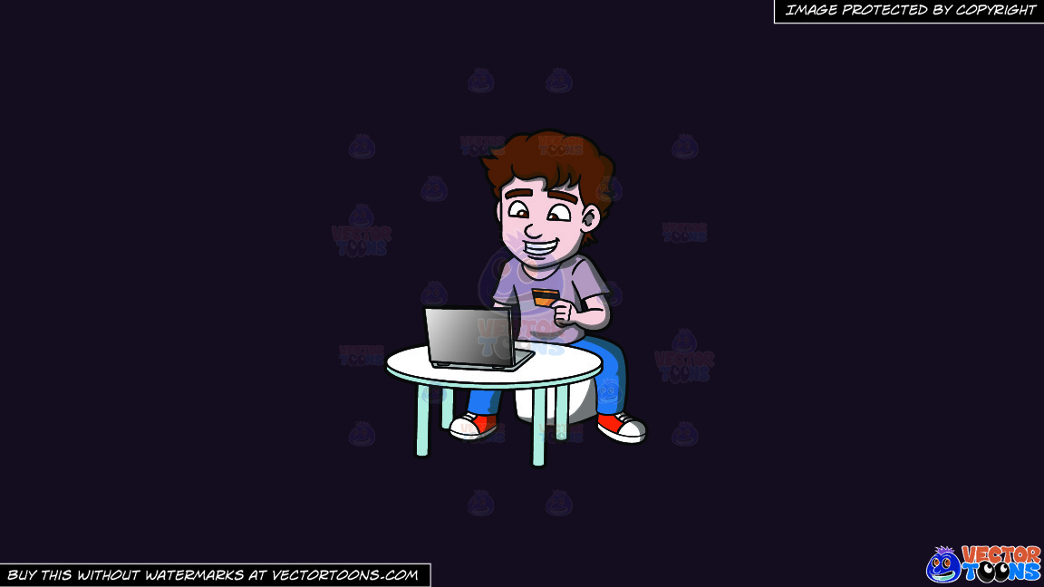 An Excited Man Shopping Online On A Solid Purple Rasin 241023 Background thumbnail