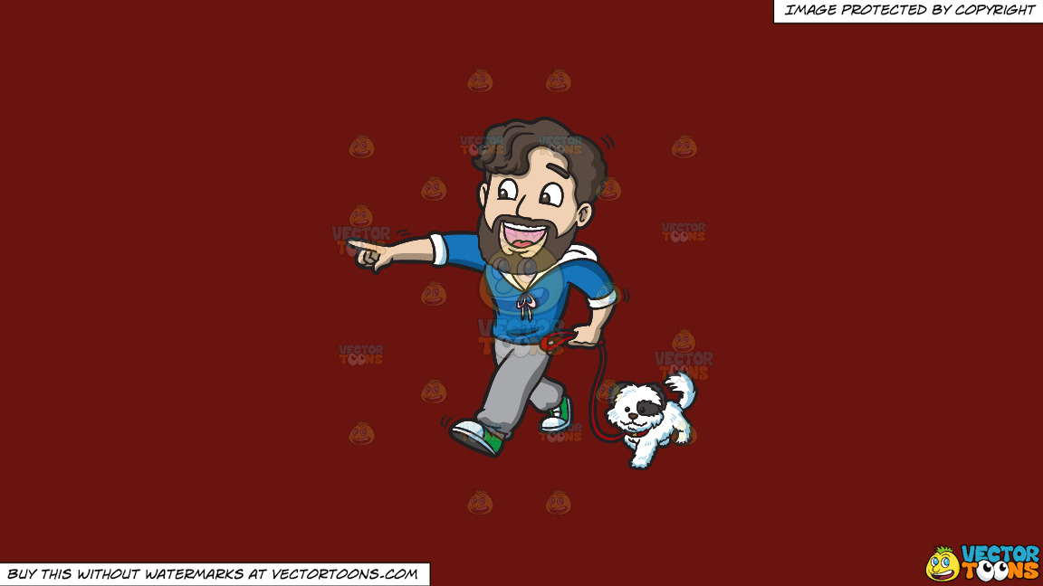 An Excited Man Walking His Dog On A Solid Maroon 69140e Background thumbnail