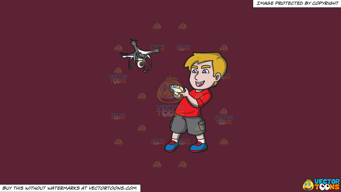 An Excited Young Man Controlling A Flying Drone On A Solid Red Wine 5b2333 Background thumbnail