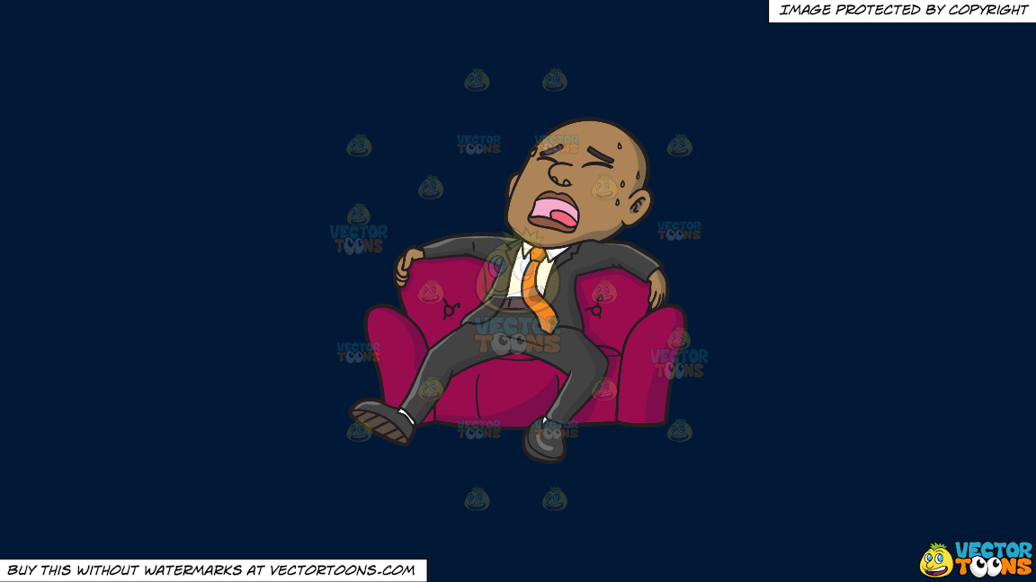 An Exhausted Black Businessman Sitting In A Big Comfy Arm Chair On A Solid Dark Blue 011936 Background thumbnail