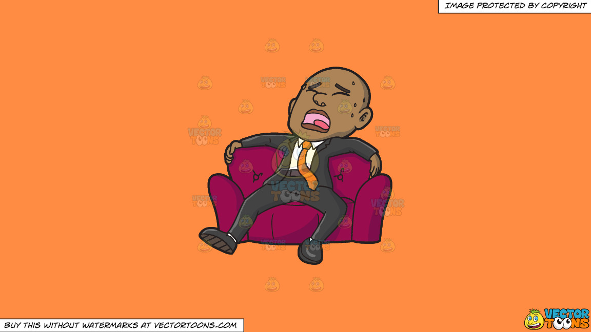 An Exhausted Black Businessman Sitting In A Big Comfy Arm Chair On A Solid Mango Orange Ff8c42 Background thumbnail