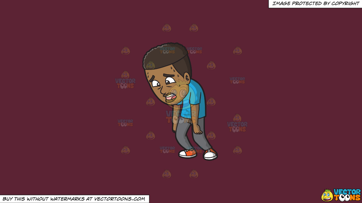 An Exhausted Black Man Walking Around With Slumped Shoulders On A Solid Red Wine 5b2333 Background thumbnail