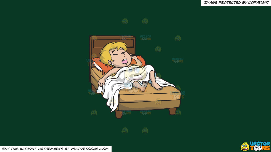 An Exhausted Blonde Woman Sleeping Soundly In Her Bed On A Solid Dark Green 093824 Background thumbnail
