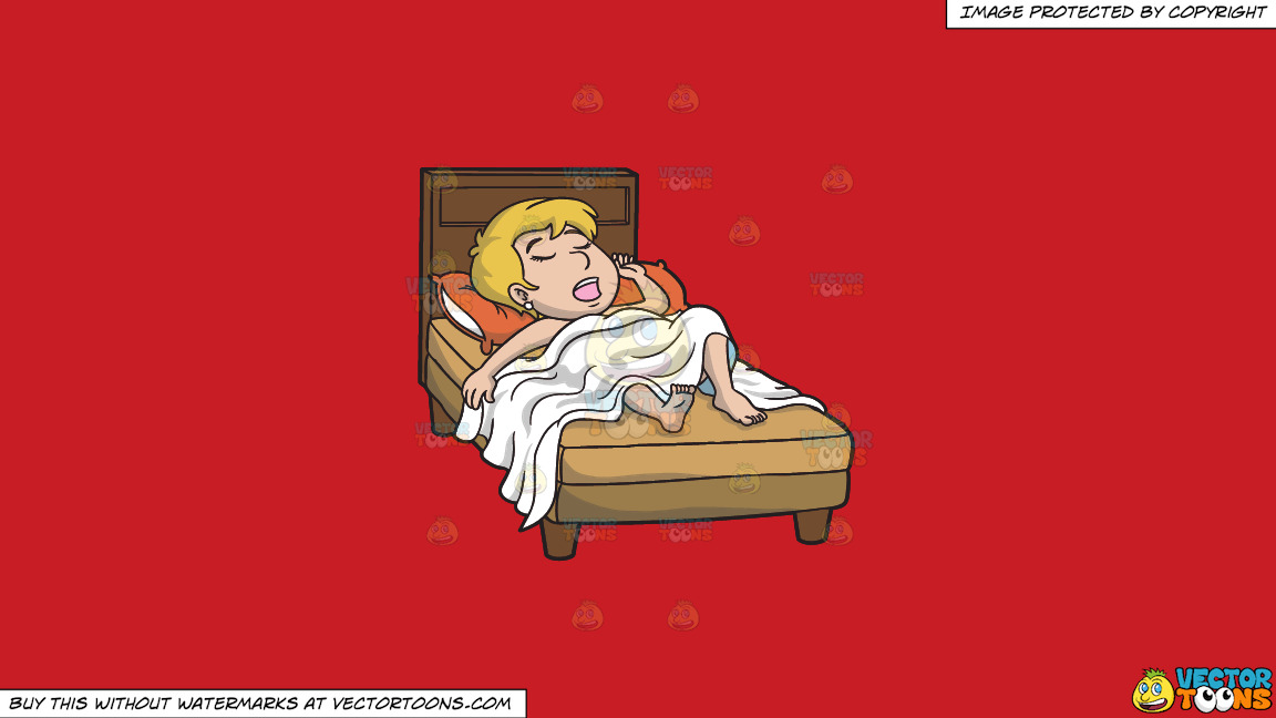 An Exhausted Blonde Woman Sleeping Soundly In Her Bed On A Solid Fire Engine Red C81d25 Background thumbnail