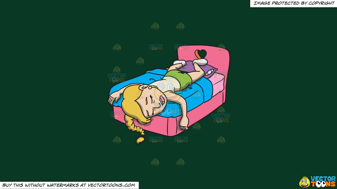 An Exhausted Woman Getting Some Much Needed Sleep On A Solid Dark Green 093824 Background thumbnail