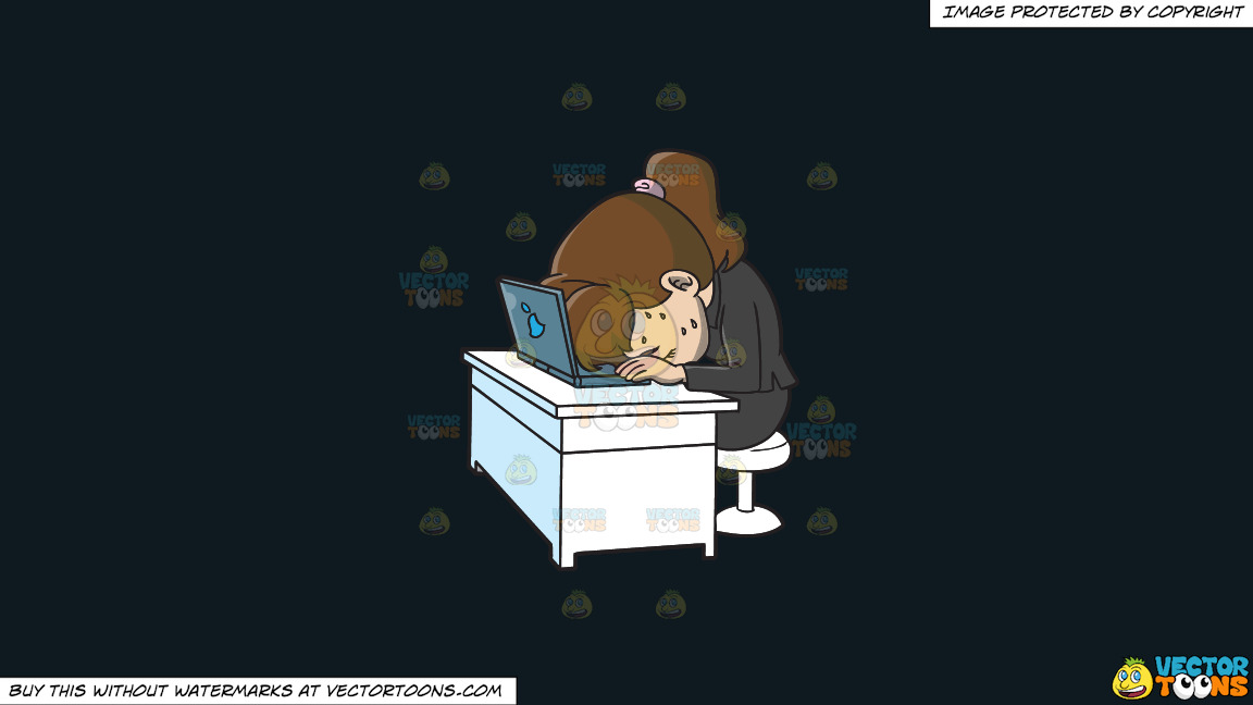 An Exhausted Woman Resting Her Head On Her Laptop On A Solid Off Black 0f1a20 Background thumbnail