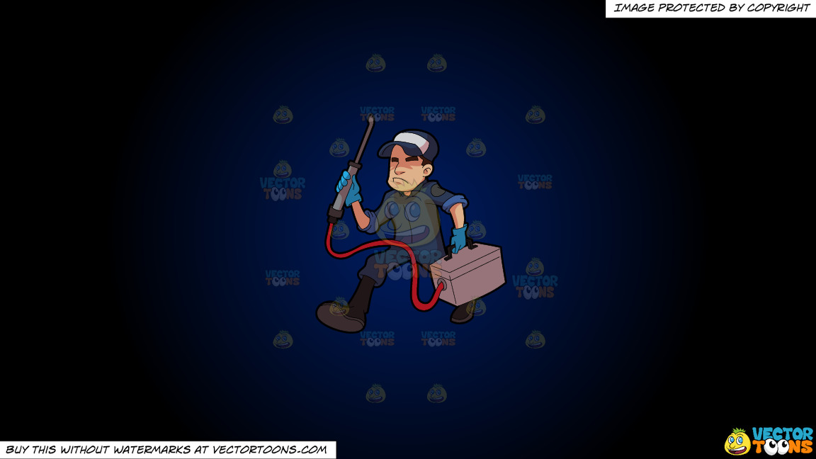 An Exterminator On The Job On A Dark Blue And Black Gradient Background thumbnail