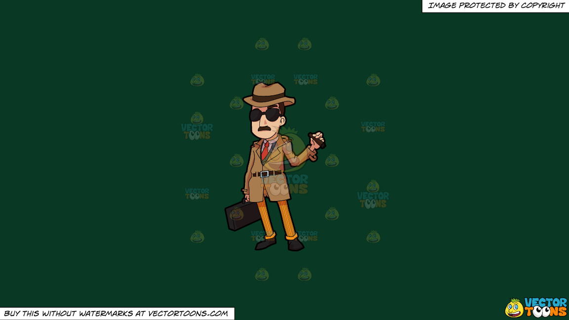 An Incognito Looking Bill Collector On A Solid Dark Green 093824 Background thumbnail