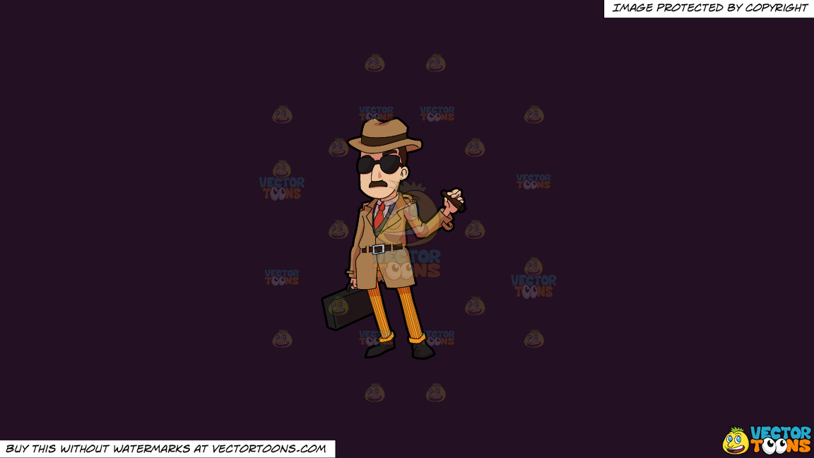 An Incognito Looking Bill Collector On A Solid Purple Rasin 241023 Background thumbnail
