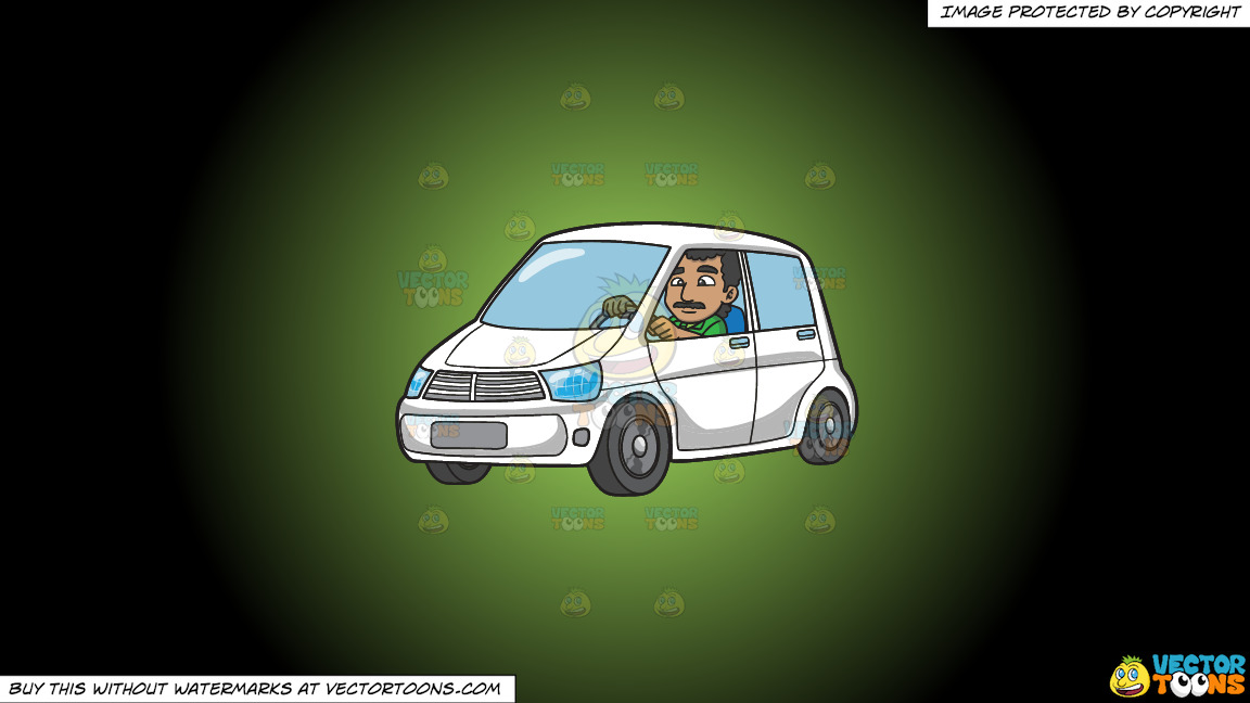 An Indian Man Driving A White Vehicle On A Green And Black Gradient Background thumbnail