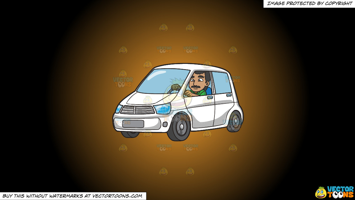 An Indian Man Driving A White Vehicle On A Orange And Black Gradient Background thumbnail