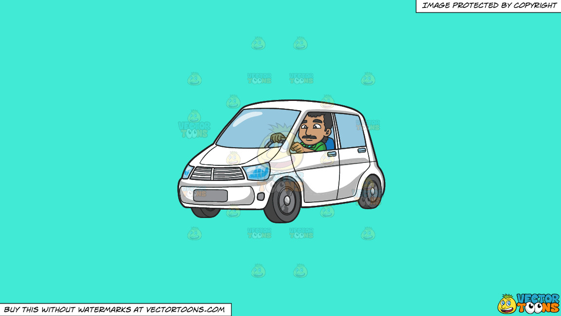 An Indian Man Driving A White Vehicle On A Solid Turquiose 41ead4 Background thumbnail