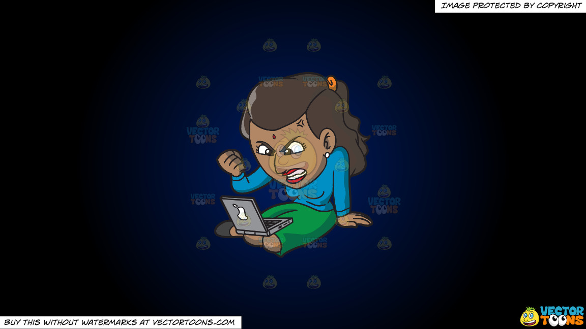 An Indian Woman Getting Angry While Surfing The Internet On A Dark Blue And Black Gradient Background thumbnail