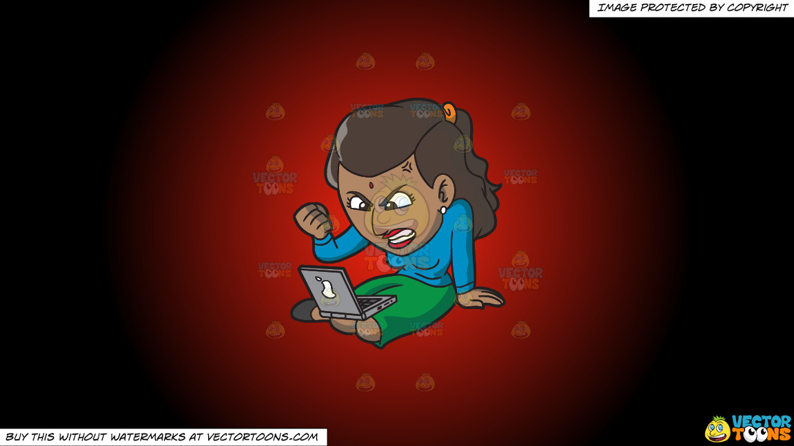 An Indian Woman Getting Angry While Surfing The Internet On A Red And Black Gradient Background thumbnail