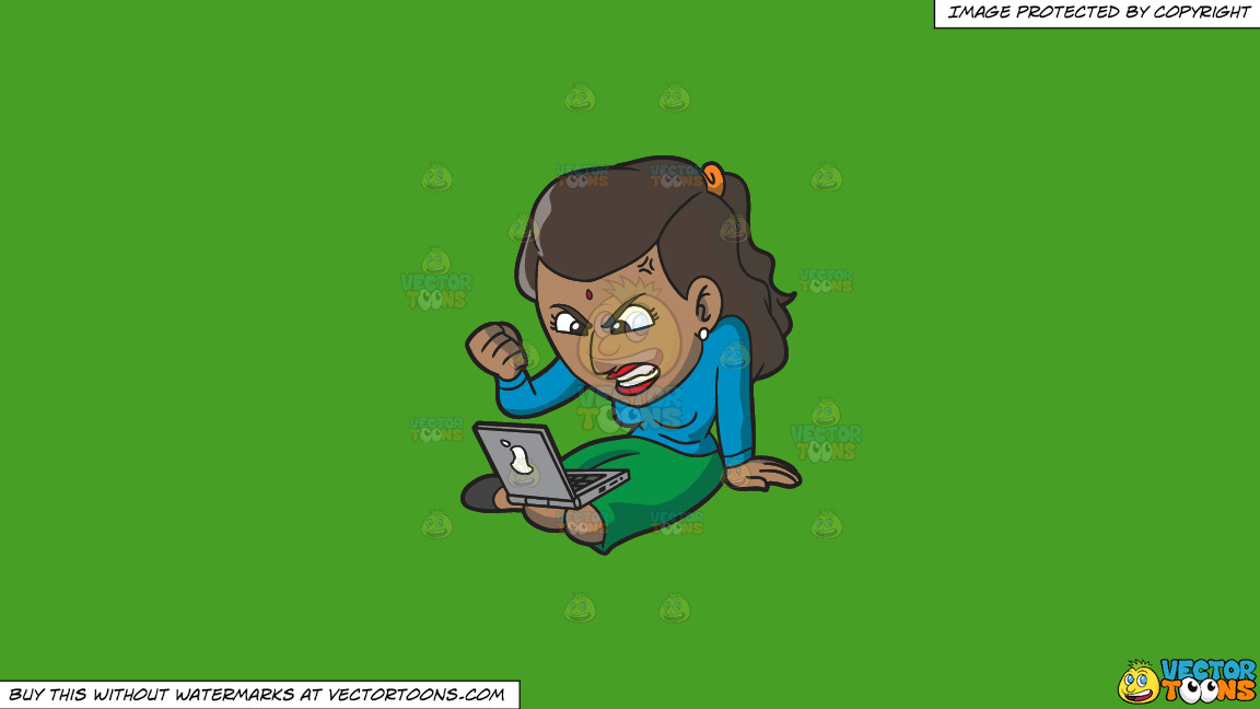 An Indian Woman Getting Angry While Surfing The Internet On A Solid Kelly Green 47a025 Background thumbnail