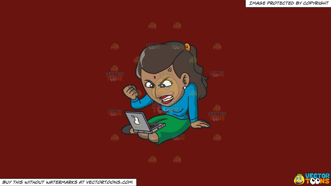 An Indian Woman Getting Angry While Surfing The Internet On A Solid Maroon 69140e Background thumbnail