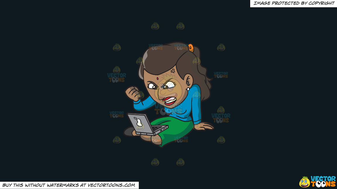 An Indian Woman Getting Angry While Surfing The Internet On A Solid Off Black 0f1a20 Background thumbnail