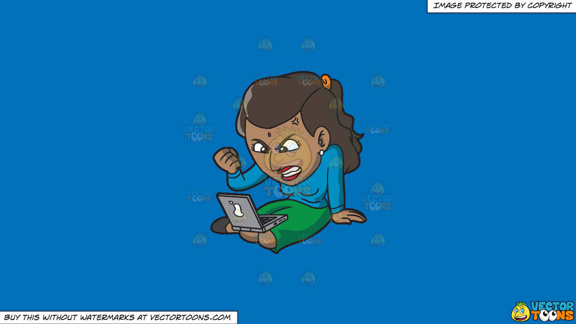 An Indian Woman Getting Angry While Surfing The Internet On A Solid Spanish Blue 016fb9 Background thumbnail