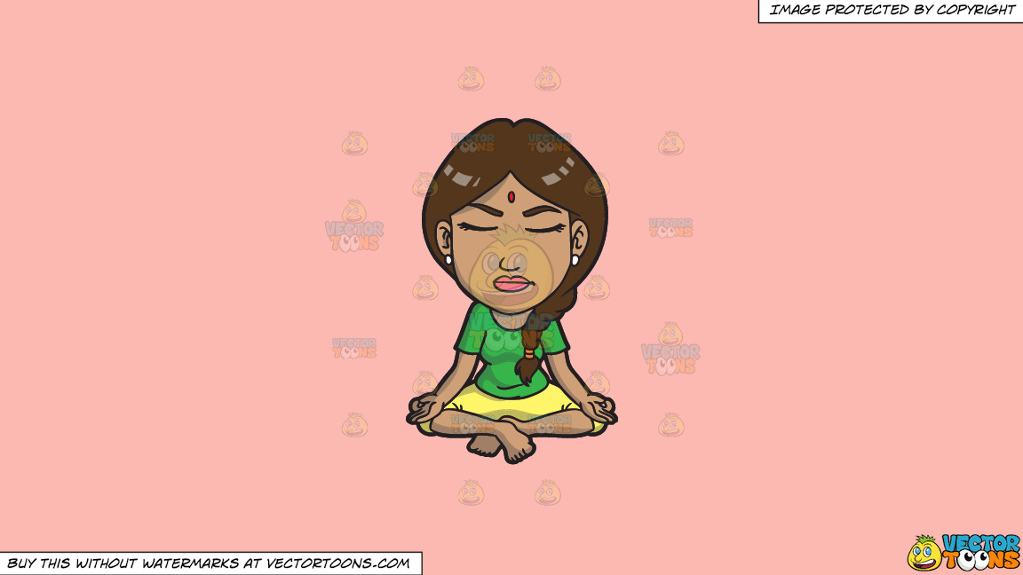 An Indian Woman In Meditation On A Solid Melon Fcb9b2 Background thumbnail