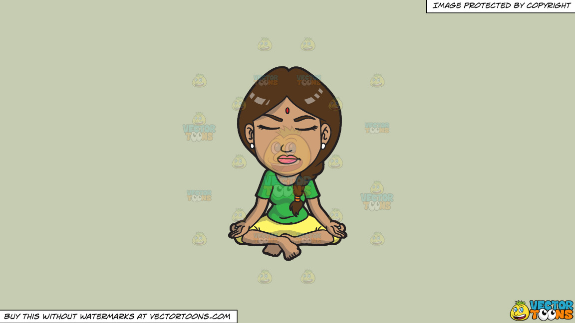An Indian Woman In Meditation On A Solid Pale Silver C6ccb2 Background thumbnail