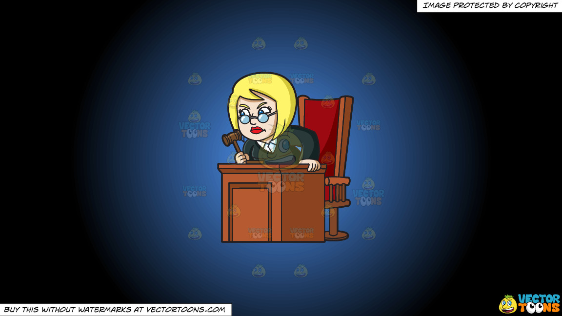 An Infuriated Female Judge On A Blue And Black Gradient Background thumbnail