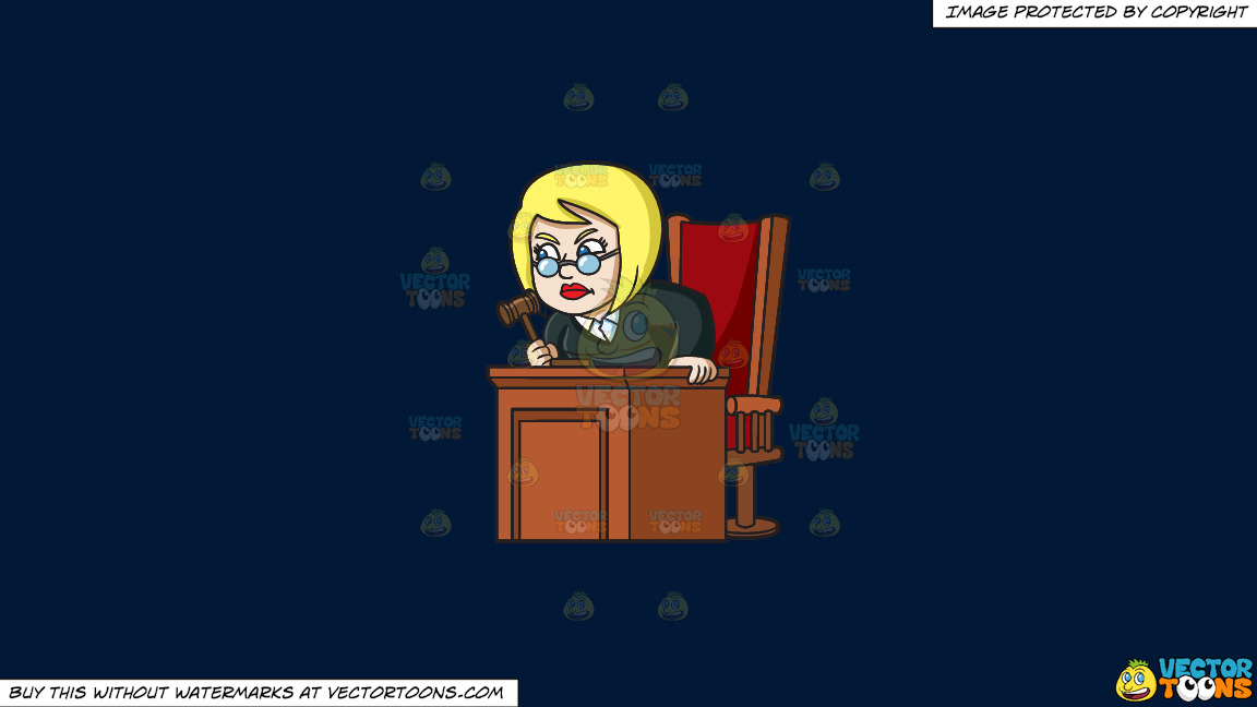 An Infuriated Female Judge On A Solid Dark Blue 011936 Background